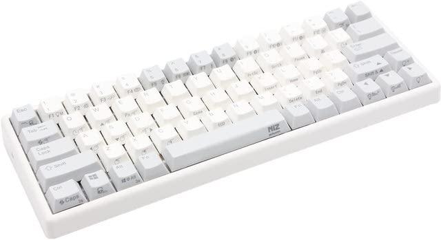 AKEEYO NiZ 静電容量無接点 キーボード 超小型 英語配列 USB有線/ワイヤレス 両対応〔RGBバックライト搭載〕35g荷重 USBレシーバー付属 左FN+右FN プログラマブル 多機能 Wireless Keyboard 日本語マニュアル アイボリー_66EC(XRGB)BLe/35g (66キー)